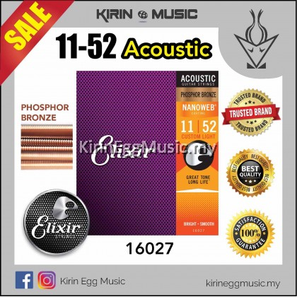 ELIXIR 11 Acoustic Guitar String NANOWEB w/Phosphor Bronze COATING 11-52 (16027)