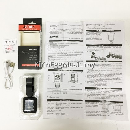 Aroma AMT 100 USB Rechargeable Tuner, Metronome, Rotatable Clip-on Electronic AMT100 with Battery and USB