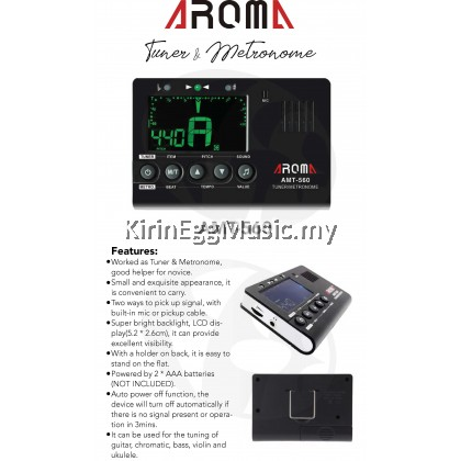 Aroma AMT 560 Tuner & Metronome Built-in Mic, Pickup Cable 6.3mm Chromatic Universal Portable Tuner
