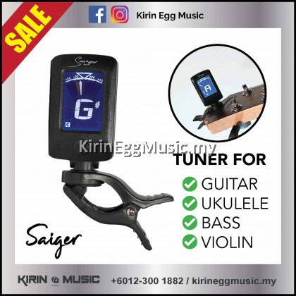 Saiger GD-JT10 Clip On Tuner, Chromatic Tuner, LED Display Rotatable Key Tuning for Guitar, Bass, Ukulele or Violin