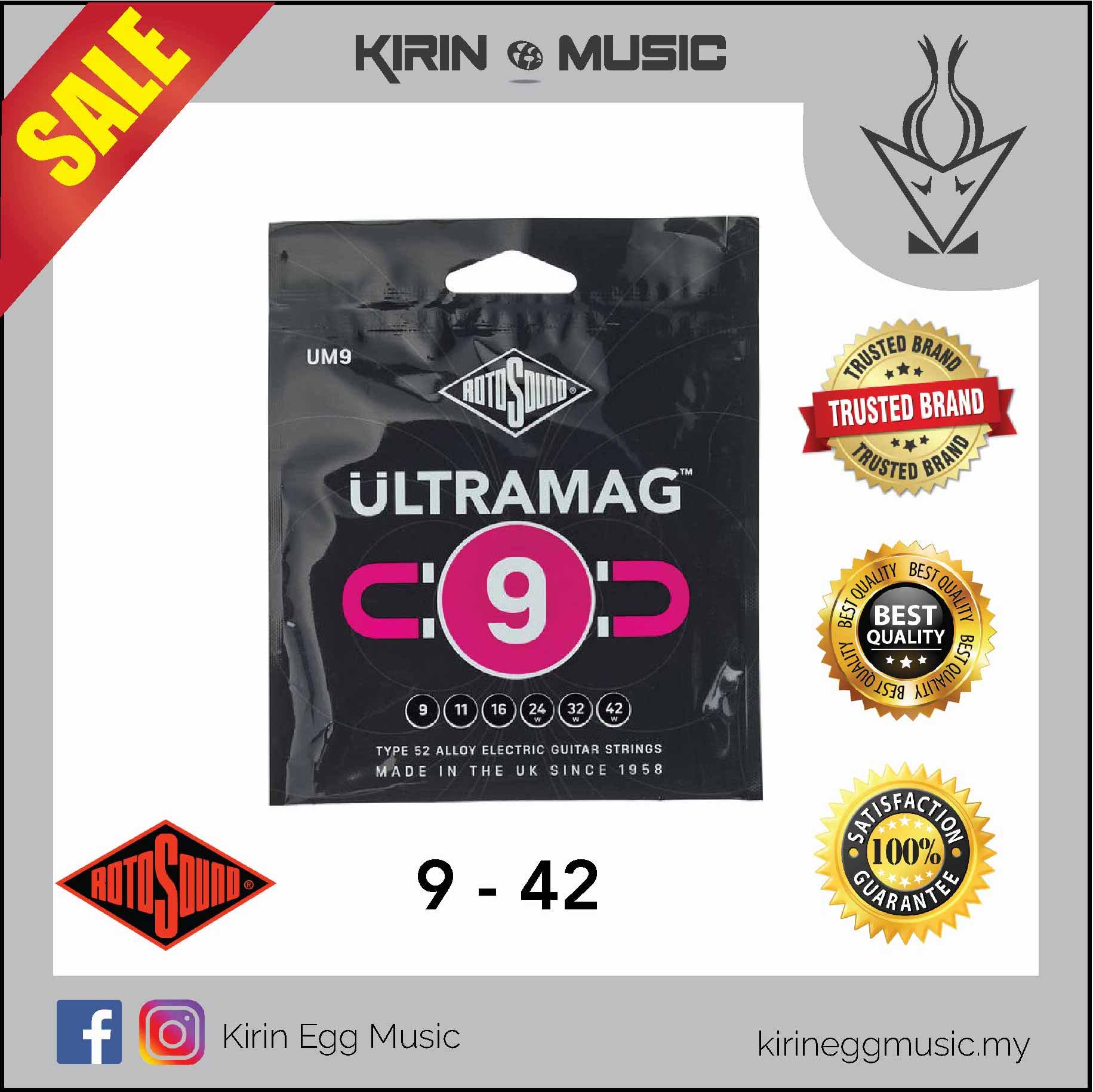 Rotosound UM9 Ultramag 09-42 Alloy 52 Electric Guitar Strings