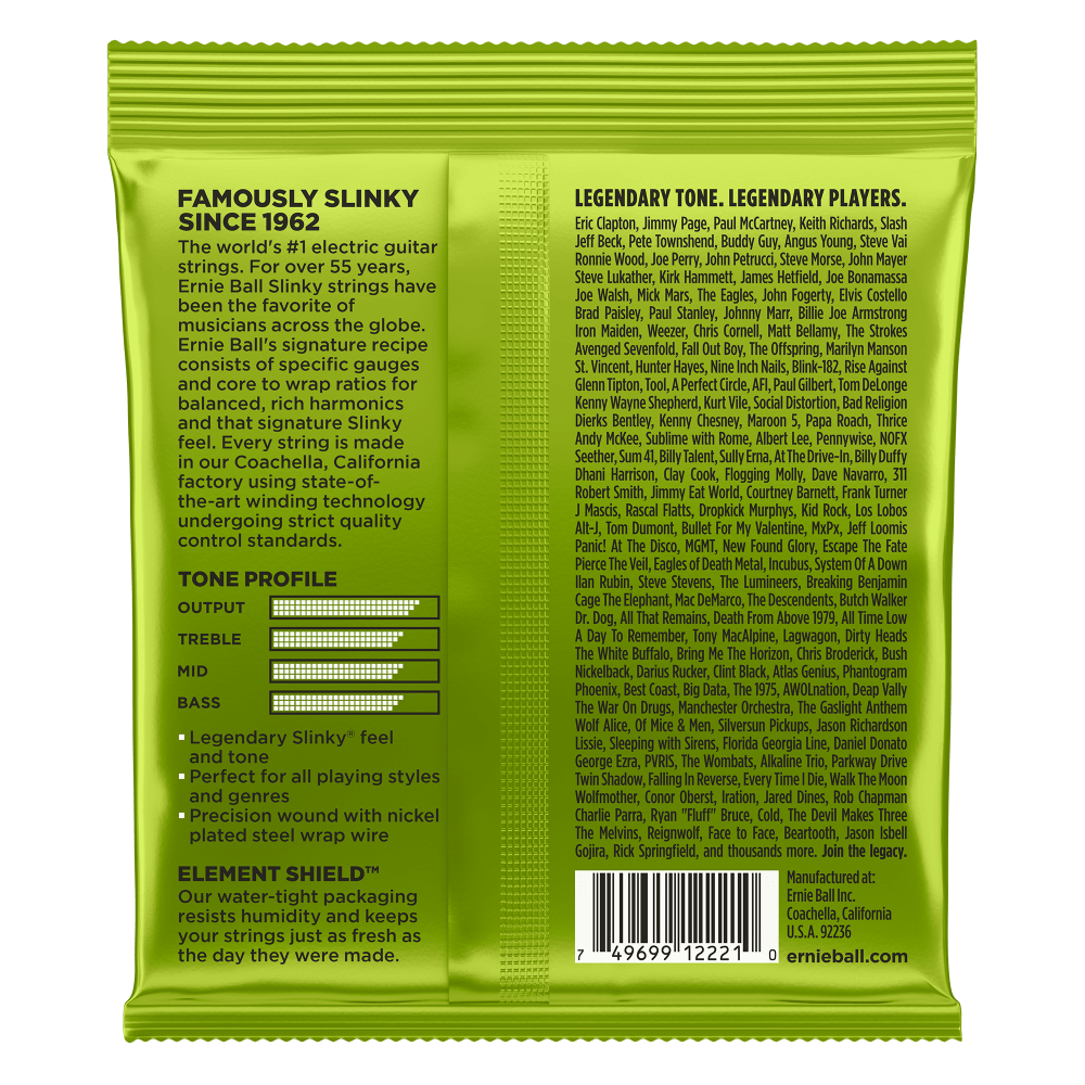Ernie Ball 10 Electric Guitar String Regular Slinky Nickel Wound Set 10-46 (2221) Green