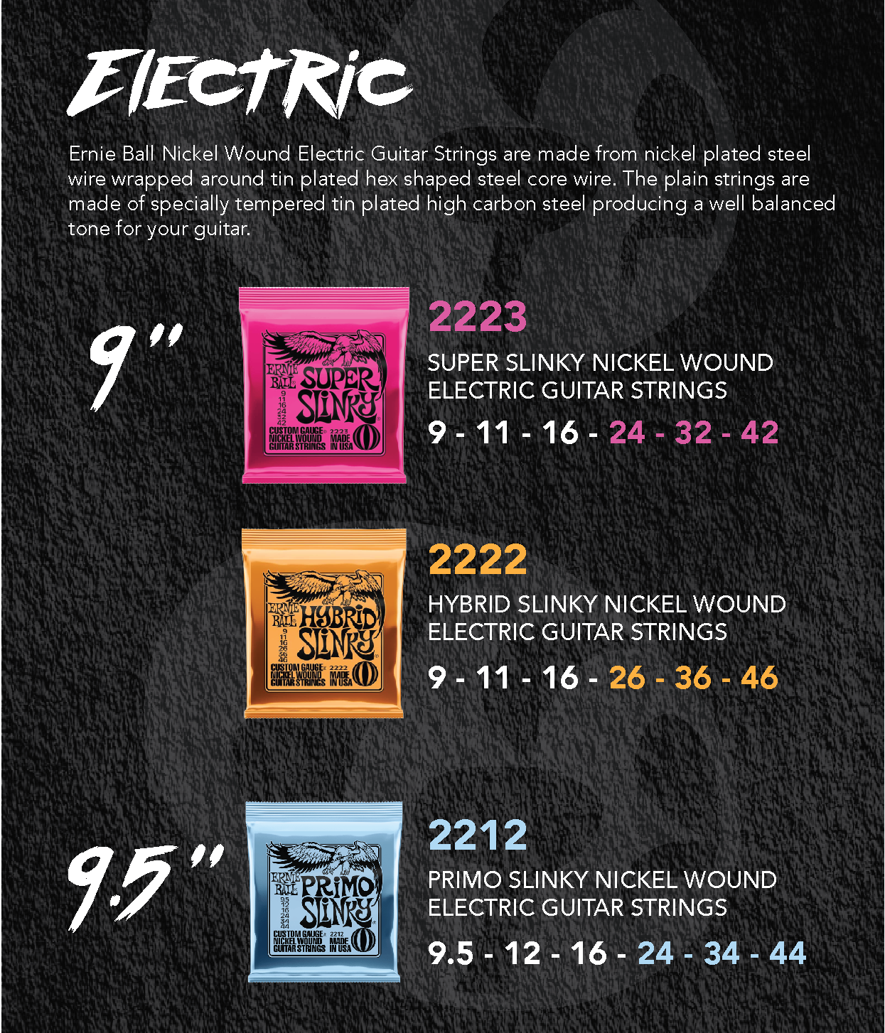 Ernie Ball 9 Electric Guitar String Super Slinky Nickel Wound Set 9-42 (2223) Pink