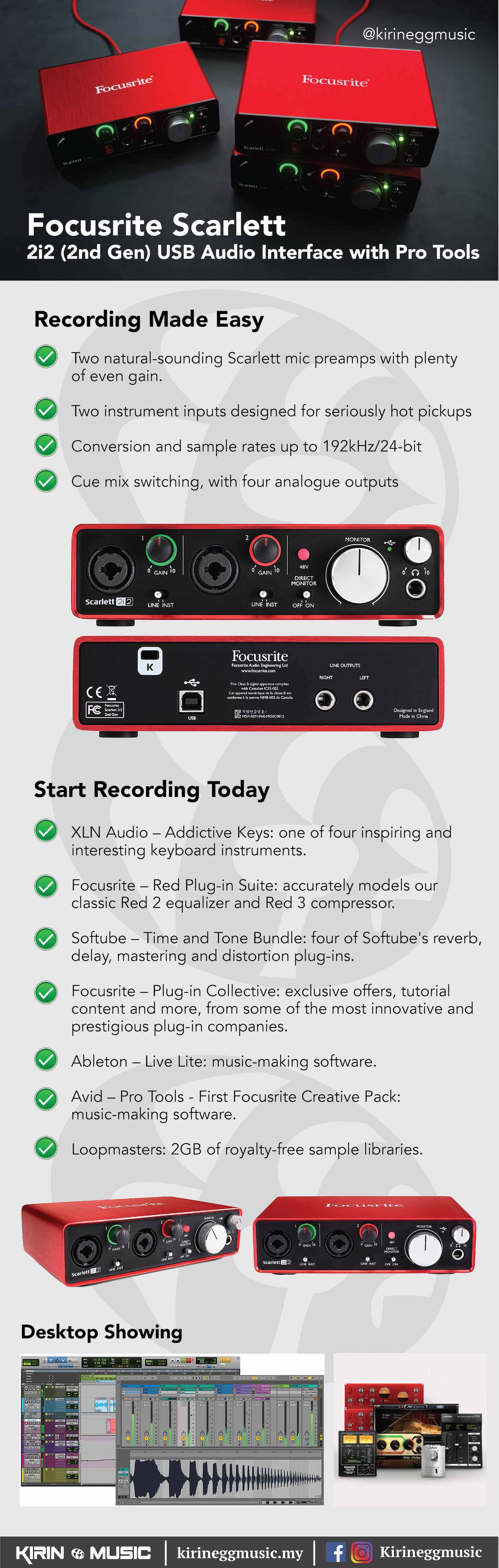 Focusrite Interface / Recording System, 2i2 (2nd Gen) with Solfware, Music Record